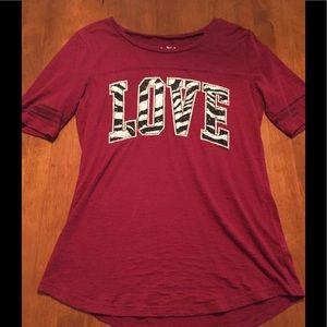 "Justice burgundy ""LOVE"" zebra bling tee size 12"